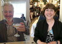 Writers Mark Vamos (left) and Leslie Eaton at Galatoire's in the French Quarter of New Orleans.