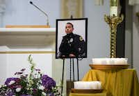 A special prayer for Officer Rogelio Santander and other shooting victims was offered in a Spanish Mass at the Cathedral Shrine of the Virgin of Guadalupe on April 25, 2018.(Ashley Landis/Staff Photographer)