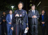 Dallas Mayor Mike Rawlings listens to Police Chief U. Renee Hall at a news conference outside the emergency room at Texas Health Presbyterian Dallas.(Ashley Landis/Staff Photographer)
