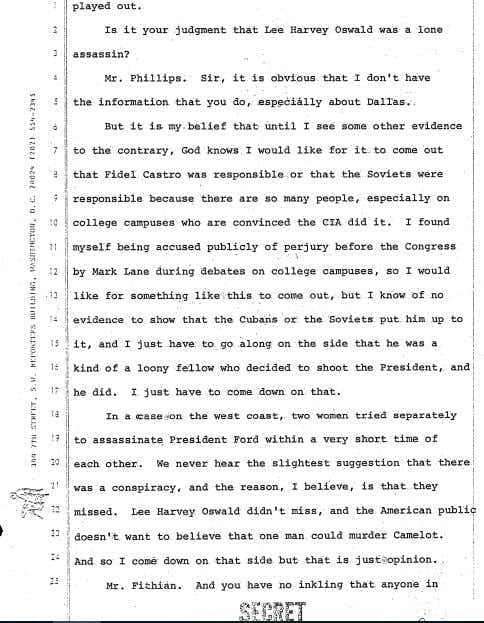 """<br>(<p>Document released Dec. 15, 2017, shows testimony of a former CIA station chief in Mexico City, David Phillips, before the House Select Committee on Assassinations on April 25, 1978.<span style=""""font-size: 1em; background-color: transparent;"""">https://www.archives.gov/files/research/jfk/releases/180-10131-10327.pdf</span></p>)"""