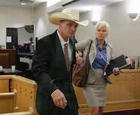 "Kenneth ""Kenny"" Martin, leaves the Tim Curry Criminal Justice Center in Fort Worth, Monday, April 23, 2018 with one of his defense attorneys, Christy Jack, during a break in his trial. He has admitted to the killing his estranged wife, Linda Martin, at a stoplight in Southlake, Texas on May, 31, 2016.(Ron Baselice/Staff Photographer)"