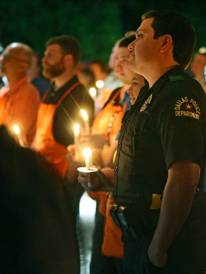 6b15926cedc Grieving Dallas police joined by community to mourn officer fatally shot at  Home Depot