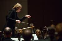 Assistant conductor Ruth Reinhardt leads the Dallas Symphony Orchestra at the Meyerson Symphony Center on Thursday.(Allison Slomowitz/Special Contributor)
