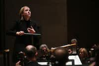 Assistant conductor Ruth Reinhardt leads the Dallas Symphony Orchestra on Thursday. (Allison Slomowitz/Special Contributor)