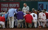 U.S. House Chaplain the Rev. Patrick J. Conroy leads a prayer for the players during the 56th Annual Congressional Baseball Game for Charity last year at the National Park in Washington, D.C.(Alex Wong/Getty Images)