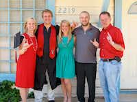 "<span style=""font-weight: normal;"">Patrick McSwane, second from right, with his parents, Doug and Mary Mozelle ""Mo"" McSwane, his sister, Marcie, and brother, Ryan, in May 2012, several months before he died. The family was celebrating Ryan's graduation from Texas Tech University in Lubbock.</span>(Janet Romine)"