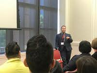 """<p>Johnny Boucher, a teacher at Eduardo Mata Elementary School, talks about transgender experiences in education during the conference on race and equity at SMU.<span style=""""font-size: 1em; background-color: transparent;"""">&nbsp;(Elvia Limon/The Dallas Morning News)</span></p>"""
