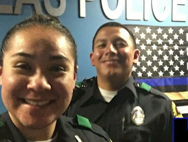 Officers Crystal Almeida and Rogelio Santander