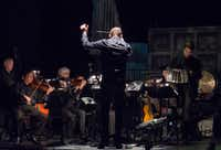 Conductor Scott Terrell, musicians of the Fort Worth Symphony and bandonéonist Juan Pablo Jofre perform in a dress rehearsal of  <i>Maria de Buenos Aires</i>.(Robert W. Hart/Special Contributor)