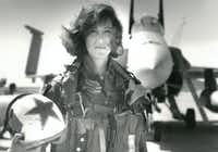 In a photo provided by the U.S. Navy, Lt. Tammie Jo Shults with her F/A-18A jet in 1992. Shults, one of the Navy's first female fighter pilots, was in command of Southwest Airlines Flight 1380 when its engine exploded on April 17, 2018; for the next 40 minutes, she maneuvered the plane safely to an emergency landing in Philadelphia.(THOMAS P. MILNE/NYT)