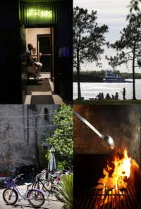 """Get away from the French Quarter to find the """"real"""" New Orleans. (Clockwise from top left) Tipitina's music club in Uptown, the view of the Mississippi River at Riverview Park - a.k.a. 'The Fly' to locals, grilled oysters at Casamento's, and rental bikes in the Arts District.(Rose Baca/Staff photographer)"""
