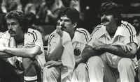 Mavericks center Kurt Nimphius (left), guard Jim Spanarkel and center Scott Lloyd watch from the bench in December 1982.(1982 File Photo/Staff)