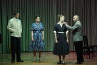 """Samuel Schultz, Katherine Tombaugh, Maren Weinberger and Javier Abreu perform Jake Heggie's <i>Again</i> during a dress rehearsal of the Fort Worth Opera Festival's """"Brief Encounters.""""(Lawrence Jenkins/Special Contributor)"""