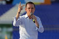 Mexico presidential candidate Ricardo Anaya speaks to supporters during his second campaign rally, in Celaya, Guanajuato State, Mexico on April 1, 2018.  (ULISES RUIZ/AFP/Getty Images)(ULISES RUIZ/AFP/Getty Images)