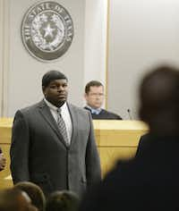 Former Dallas Cowboy Josh Brent stood in court during jury selection for his 2014 trial. State District Judge Robert Burns presided over the criminal trial.(LM Otero/AP)