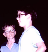 Matt Zoller Seitz, right, directing his play <i> The Creature Syndrome</i>  in fifth grade.(Barry White/Matt Zoller Seitz)