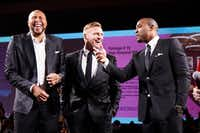 "From left: Former Dallas Mavericks NBA Champion Shawn ""The Matrix""  Marion, former Dallas Cowboys fullback Tyler Clutts and former Dallas Cowboys Super Bowl Champion Darren Woodson took part in the live auction at this year's Cotes du Coeur. The athletes auctioned off a VIP Sports Package that included a private dinner with them.(Scogin Mayo)"