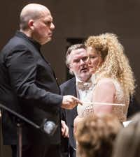 <p>Jaap Van Zweden conducts with Simon O'Neill, tenor, and Michelle DeYoung, mezzo-soprano, at the Dallas Symphony Orchestra performance ofDie Walküreat the Meyerson Symphony Center on April 1, 2016.</p>(Ron Heflin/File Photo)