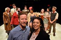 Co-writers David Goodwin and Christie Vela after a Saturday night preview of <i>The Last One Nighter on the Death Trail Starring the Disappointment Players</i>, at Theatre Three, with the cast behind them.(Ben Torres/Special Contributor)