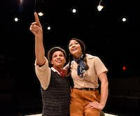 Rashaun Sibley plays a starry-eyed Kid who dreams of making movies and Olivia de Guzman plays Trixie, a newcomer with a secret, in&nbsp;<i>The Last One Nighter on the Death Trail Starring the Disappointment Players</i> at Theatre Three.(Ben Torres/Special Contributor)