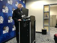 Assistant Chief Paul Stokes held a news conference on Wednesday to talk about safety plans for this weekend's NRA convention.(Naheed Rajwani/Staff)