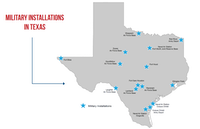 "<span style=""font-weight: normal;"">The state's 2017 aerospace, aviation and defense report includes this map of military installations in Texas.</span>"