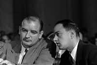 Sen. Joseph McCarthy, left, and Roy Cohn, his chief counsel, during the McCarthy hearings before the Senate's Subcommittee on Investigations in Washington, in June of 1954. Cohn, the red-baiting Senate adviser and fearsome lawyer, counseled a young Donald Trump for many years, nurturing a style of bluster and smears.(George Tames/The New York Times)