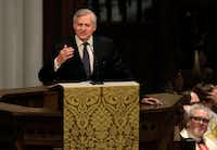 Jon Meacham speaks during a funeral service for former first lady Barbara Bush at St. Martin's Episcopal Church in Houston on April 21, 2018. Bush, wife of former president George H. W. Bush and mother of former president George W. Bush, died at her home in Houston on April 17 at the age of 92.(Getty Images)