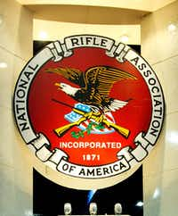 The seal for the National Rifle Association.(KAREN BLEIER/AFP/Getty Images)