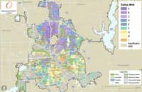 From the market value analysis map of Dallas, where purples indicate health and oranges and yellows show desperate needs