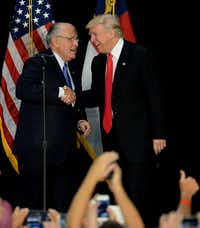 Former New York City Mayor Rudy Giuliani, with Donald Trump in 2016, will be in Farmers Branch next week to speak at a home community grand opening.(Jeff Siner/TNS)