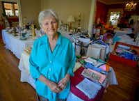 Harryette Ehrhardt in her home on Swiss Avenue where she's in the middle of an estate sale to dispose of 50-plus years of belongings. (Robert W. Hart/Special Contributor)