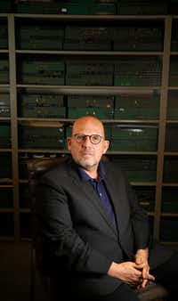 Jaap van Zweden poses for a portrait at the composition library at the Meyerson Symphony Center in Dallas on April 18, 2018.(Nathan Hunsinger/Staff Photographer)