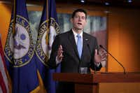 U.S. House Speaker Paul Ryan, R-Wis., holds his weekly news conference at the Capitol in Washington.(J. Scott Applewhite/The Associated Press)
