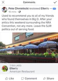 There have been a few protests of Ellen's gun safety message on the restaurant's receipts.(Facebook/Joe Groves)