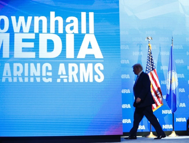 President Donald Trump exits after speaking to the crowd assembled in the  Kay Bailey Hutchison Convention Center for the NRA Annual Meeting in  Dallas 2f8c32b68e91