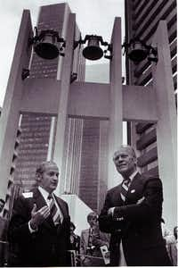 Peter Stewart (left) and former U. S. President Gerald R. Ford at Thanks-Giving Square.(Jay Godwin/The Dallas Morning News)