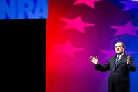 Texas Sen. Ted Cruz addresses the NRA-ILA Leadership Forum at the Kay Bailey Hutchison Convention Center in Dallas.(Smiley N. Pool/Staff Photographer)