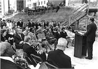 Thanks-Giving Square's dedication with Gov. Dolph Briscoe was held in 1975.(Tom Dillard/The Dallas Morning News)