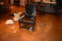 This photo was among the evidence used in the federal criminal trial for Jermaine Webster Harris of Lewisville. Radio host Russ Martin was duct-taped to this chair in his Frisco home and held at gunpoint in December 2015 while masked men searched for valuables and guns. Harris was sentenced to 62 years in prison for his crimes, which included this home invasion robbery.(U.S. Attorney's Office)