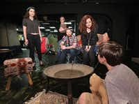From left: Madison Calhoun, Desiree Fultz, Ian Ferguson, Jessica Cavanagh and Jude Segrest rehearsing <i>Self Injurious Behavior</i>, Cavanagh's play that was inspired by her relationship with her son, at Theatre Three's Theatre Too space. The show runs May 17 through June 10.(Jason Janik/Special Contributor)