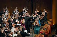 """Jaap van Zweden, the New York Philharmonic's incoming music director, leads the orchestra during its opening program of the new season at David Geffen Hall, in New York, Sept. 19, 2017.(<p><span style=""""font-size: 1em; background-color: transparent;"""">The New York Times</span></p>/<p><span style=""""font-size: 1em; background-color: transparent;"""">Michelle V. Agins</span></p>)"""