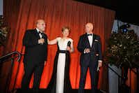 """Jaap van Zweden, president Deborah Borda and chairman Oscar Schafer at the New York Philharmonic's opening gala dinner, at Lincoln Center in New York, Sept. 19, 2017.(<p><span style=""""font-size: 1em; background-color: transparent;"""">The New York Times</span></p>/<p><span style=""""font-size: 1em; background-color: transparent;"""">Rebecca Smeyne</span></p>)"""