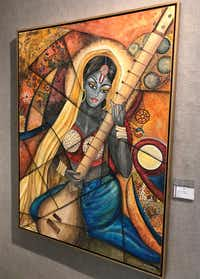"""A painting in Navneeta Khemka's exhibit, """"Sound of Music,"""" at Jaycee Park Center for the Arts in Irving.(Deborah Fleck/Staff)"""