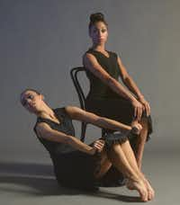 Former Dallas Black Dance Theatre company members Alyssa Harrington, on floor, and Jasmine Black in Ulysses Dove's 1986 masterpiece <i>Vespers.</i>(Steven Ray)
