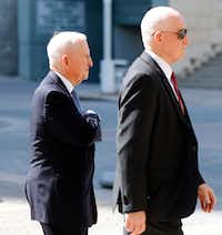 H. Ross Perot (left) arrived at the Morton H. Meyerson Symphony Center for the memorial service of Dallas philanthropist Margaret McDermott on Tuesday, May 8, 2018. (Tom Fox/Staff Photographer)