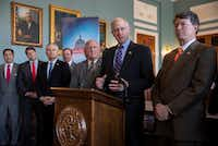 House Agriculture Committee Chairman Mike Conaway, R-Texas, and other Republican members of the panel announces the new farm bill, officially known as the 2018 Agriculture and Nutrition Act, at a news conference on Capitol Hill in Washington, Thursday, April 12, 2018. From left are Rep. David Rouzer R-N.C., Rep. Jodey Arrington, R-Texas, Rep. James Comer, R-Ky., Rep. Scott DesJarlais, R-Tenn., Vice Chairman Glenn Thompson, R-Pa., Chairman Mike Conaway, R-Texas, and Rep. John Faso, R-N.Y. (AP Photo/J. Scott Applewhite)(J. Scott Applewhite/AP)