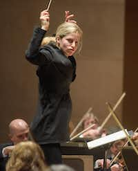 Karina Canellakis conducts  the Dallas Symphony Orchestra on Jan. 12, 2017.  (Rex C. Curry/Special Contributor)