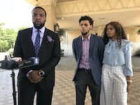 From left: Attorney Lee Merritt, Jalen Bell and Logan Bell hold a news conference Wednesday outside XTC Cabaret in Dallas.(Naheed Rajwani/Staff/<br>)