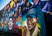 Richard Overton has a spot in a mural at the corner of 12th and Chicon streets in Austin.(Ashley Landis/Staff Photographer)